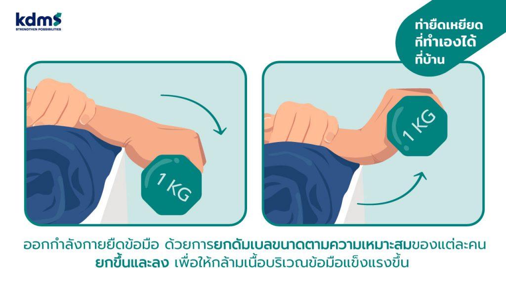 การออกกำลังกายข้อมือเพื่อป้องกันอาการมือชาด้วยการยกดัมเบล